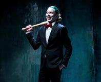Bloedig Halloween-thema: gek jokergezicht stock foto's