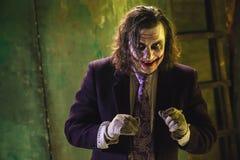 Bloedig Halloween-thema: gek maniakgezicht stock afbeeldingen