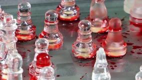 Bloedig Schaak van Glas stock videobeelden