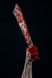 Bloedige handen met een mes van de het demonmaniak van de machetezombie Royalty-vrije Stock Afbeeldingen