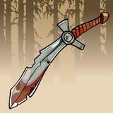 Bloedige zwaard van de beeldverhaal het scherpe kromme in een bos Stock Fotografie