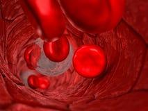Bloedvatenbinnenkant - Interne mening van een bloedvat met rode cellen en witte cellen die met ondiepe velddiepte overgaan royalty-vrije illustratie