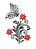Bloei met vlinder Stock Fotografie