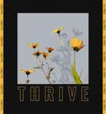 Bloei slogan met gele bloemenillustratie royalty-vrije illustratie