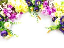 Bloeiende Boeketbloemen op witte achtergrond Stock Foto