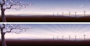 Bloeiende boom en verscheidene windturbines royalty-vrije illustratie