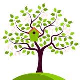 Bloeiende boom met het nestelen nestkastje Royalty-vrije Stock Fotografie