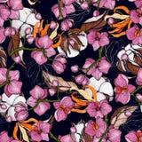 Bloeiende realistische geïsoleerde bloemen Hand getrokken vectorillustratie In naadloos bloemen katoenen patroon Uitstekende acht stock illustratie