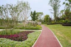 Bloeiende tuin en grasrijk gazon door rood-geschilderde weg in zonnige su royalty-vrije stock afbeeldingen