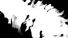 Bloeiinkt Mooie witte de dalingenovergang van de waterverfinkt op zwarte achtergrond, stock video