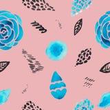 Bloeit de waterverf abstracte illustratie van decoratieve vlekkeninstallatie op roze blauw koraal van de achtergrond het naadloze stock illustratie