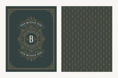 Bloeit en sier vector uitstekend ontwerp voor groetkaart of huwelijksuitnodiging Retro paginaontwerp met exemplaarruimte voor royalty-vrije illustratie