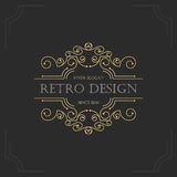 Bloeit het art deco uitstekende ontwerp van retro kaders Stock Afbeeldingen