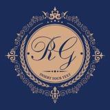 Bloeit het kalligrafische malplaatje van het monogramembleem Elegant embleemembleem voor restaurants, hotels, bars en boutiques vector illustratie