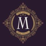 Bloeit het kalligrafische malplaatje van het monogramembleem Elegant embleemembleem voor restaurants, hotels, bars en boutiques royalty-vrije illustratie