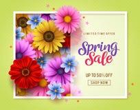 Bloeit het vector de bannermalplaatje van de de lenteverkoop met kleurrijk chrysant en madeliefje elementen op achtergrond royalty-vrije illustratie