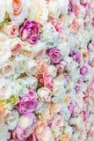 Bloeit muurachtergrond met verbazende rode en witte rozen, Huwelijksdecoratie, Royalty-vrije Stock Afbeelding