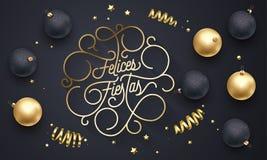 Bloeit Spaanse Vrolijke Kerstmis Navidad van Felicesfiesta's het gouden kalligrafie van letters voorzien van swash gouden typogra stock illustratie