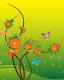Bloem & vlinders Royalty-vrije Stock Afbeelding