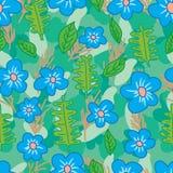Bloem blauwe kleur die naadloos patroon trekken Stock Fotografie