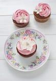 Bloem cupcakes Royalty-vrije Stock Foto