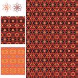 Bloem 6 8 de symmetrie naadloos patroon van de batik rood oranje stijl Royalty-vrije Stock Afbeeldingen