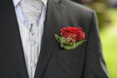Bloem in de zak van het kostuum Stock Foto