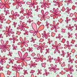 Bloem die roze naadloos patroon trekken Stock Afbeeldingen