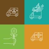 Bloem en gift het pictogram van de leveringsvrachtwagen Royalty-vrije Stock Afbeeldingen