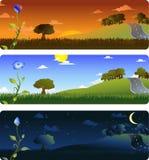 Bloem en landschap Royalty-vrije Stock Afbeeldingen