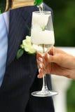 Bloem en mousserende wijn Royalty-vrije Stock Afbeeldingen