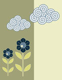 Bloem en wolkenkaart vector illustratie