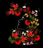 Bloem Het gezicht van de vrouw vector in het Oekraïense traditionele schilderen Stock Foto