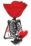 Bloem hoofdskelet met hart Stock Foto