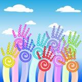 Bloem kleurrijke omhooggaande handen Royalty-vrije Stock Foto's