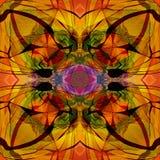 Bloem Mandala De Stijl van het art deco KLEURRIJK BEELD IN GEEL, GOUDEN, BRUIN royalty-vrije illustratie