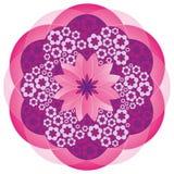 Bloem Mandala in Roze Kleuren stock illustratie