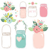 Bloem Mason Jar vector illustratie