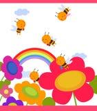Bloem met rond bijen Stock Afbeelding