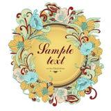 Bloem om kader, vectorachtergrond, banner, bloemengrens, kroon, uitstekend ornament Royalty-vrije Stock Foto's