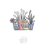 Bloem in Pot Logo Illustration Design Stock Foto's
