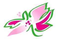 Bloem in roze en groen - vectorillustratie Stock Fotografie