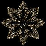 Bloem van de luxe de gouden lotusbloem op zwarte, gouden schitterende achtergrond Royalty-vrije Stock Afbeelding