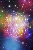 Bloem van het leven - het met elkaar verbindende cirkels oude symbool op kosmische ruimteachtergrond Heilige Meetkunde De formule Stock Afbeeldingen