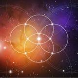 Bloem van het leven - het met elkaar verbindende cirkels oude symbool op kosmische ruimteachtergrond Heilige Meetkunde De formule royalty-vrije illustratie