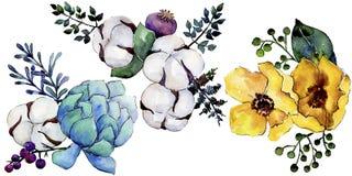 Bloem van het waterverf de kleurrijke boeket Bloemen botanische bloem Geïsoleerd illustratieelement royalty-vrije illustratie