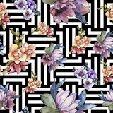 Bloem van het waterverf de kleurrijke boeket Bloemen botanische bloem Naadloos patroon als achtergrond vector illustratie