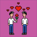 Bloem voor geliefde vriend, de vectorillustratie van de pixelkunst Royalty-vrije Stock Foto's