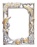 Bloem zilveren en gouden kader Stock Foto