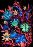 Bloemachtergrond op zwarte - waterverf het schilderen op papier royalty-vrije illustratie